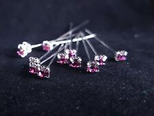 Diamante Florist Pins 4mm x 72pcs Purple Premium Quality Wedding Buttonholes