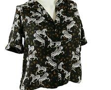 Zara blouse Black Zebra print  top shirt Size Small