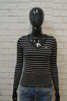 LACOSTE Maglione Taglia 36 XS Lana Cardigan Donna Pullover Sweater Righe Woman