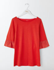 Boden Rae Ruffle Sleeve Tee Red Size UK 10 LF087 FF 18