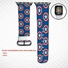 Custom Wristwatch Bands Captain America Shield Marvel Apple Watch 38mm 42mm
