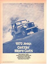 1972 JEEP ~ ORIGINAL 3-PAGE NEW CAR PREVIEW ARTICLE / AD