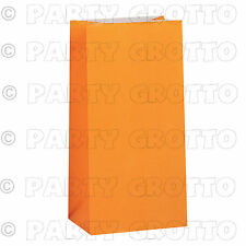 10 12 Paper Party Bags Plain Solid Colour Sweet Treat Bag Favor Gift Loot Orange
