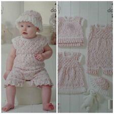 Baby KNITTING PATTERN Baby Friil Dress Top Playsuit Hat CherishDK King Cole 4901