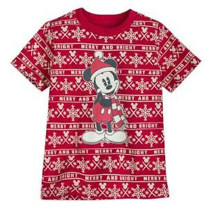 NWT Disney Store Mickey Mouse Tee Shirt Top Holiday Christmas Boys 5/6,10/12 Red