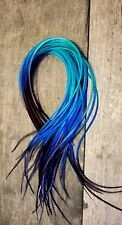 Feather hair extensions thin Navy Blue Teal iced ombre XXXLONG premium beads