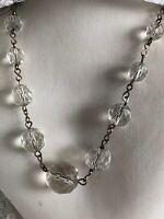 1920s Glass Wired Necklace Vintage Retro Screw Clasp Art Deco Jewellery Jewelry