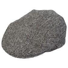 100% Genuine Harris Tweed Flat Cap Light Grey Herringbone 56-63cm