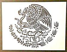 "Stencil Mexico Mexican Flag Emblem Eagle 8.5"" x 11""  Reusable Flexible Plastic"