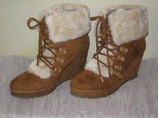 Unionbay Brown Boots Faux Fur Wedge JR Size 8.5 NIB #SH13