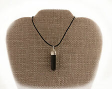 Black Tourmaline Protection Pendant Necklace PB-9 Rubber Cord FREE GIFT BOX