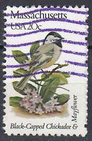 USA Briefmarke gestempelt 20c Massachusetts Chickadee and Mayflower / 2074
