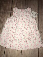Janie And Jack 0-3 Months Corduroy Jumper Dress White Pink Roses NEW