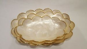 Vintage Set of 3 Capiz Shell Vanity Trays with Scalloped Edge & Gold Trim