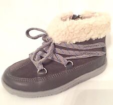 "Clarks baby girls ""MAXI MOON"" grey leather boots size 7.5G.New"