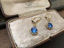 Vintage Sapphire Blue Crystal ,Seed Pearl Drop Hook Pierced Earrings Gold Plated