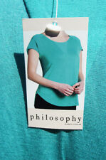 PHILOSOPHY AQUA BLUE POLYESTER BLEND CAP SLEEVE CASUAL HIGH LOW BLOUSE XXL NEW