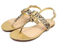 JOSALYN22 New Bead Flat T-Strap Cute Sandals Gladiator Party Women Shoes Gold