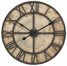 Large Rustic Nautical Map Wall Clock Black Iron & Wood Parchment-Color Face 31""