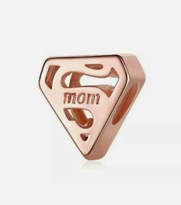 🌹 Rose Gold SUPER MOM Charm Add On Sterling Silver Pandora Bracelets
