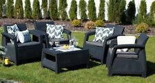 Dark Grey Resin Wicker 5-Piece Patio Chat Set Home Outdoors Furniture Poolside