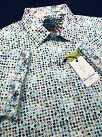 Robert Graham XL Shirt Mens Circle Rainbow Vibrant Short Sleeve New