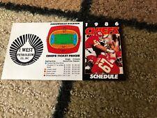 1986 KANSAS CITY CHIEFS Football Schedule NM