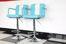 American Diner Retro Style Chair Furniture Kitchen Blue x 2