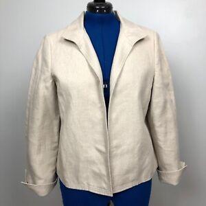Talbots Open Front Blazer Jacket Size 14 Beige 100% Linen Lined Career Casual