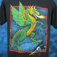 vintage 80s FIRE BREATHING DRAGON CARTOON PAPER THIN T-Shirt M/L medieval faire