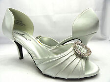 Annie Shoes Women's Librae Silver Satin Peep Toe Dress Heels Sandals Size 8W