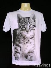 Kitty CAT T-shirt, POP Art Kitten CUTE, White Cotton S M & L Unisex, Tabby NEW