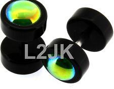 Black/Green Turmaline Color Pearl Fake Plug Fake Cheater Illusion Plugs 0G 8mm