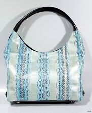 new $625 SURLY GIRL blue real python snakeskin leather LARGE HOBO tote bag