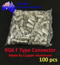 100x Copper Aluminum F Type Crimp Connector for RG6 Cable TV Satellite 100pcs