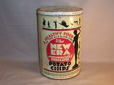 Vintage 1940's New Era Scientifically Processed Potato Chips Tin Detroit Chicago