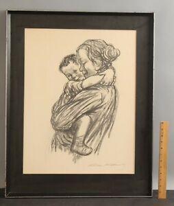 Authentic KATHE KOLLWITZ Social-Realist Lithograph Print, MOTHER & CHILD NR