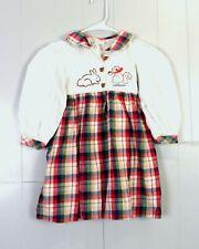 vtg Oshkosh B'Gosh Kids Girls euc Plaid Flannel Dress Animals spell out sz 4