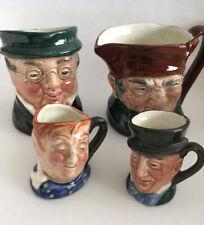 Lot Of 4 Small Royal Doulton Mini Toby Mug Character Jugs 2 1/4� And 1 1/4�