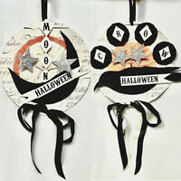 Bethany Lowe Dee Foust Halloween Moon & Crow Ornaments Set of 2 Discontinued