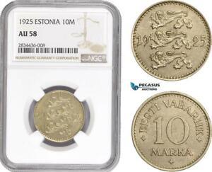 AD809, Estonia, 10 Marka 1925, NGC AU58