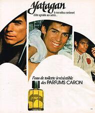 PUBLICITE ADVERTISING 124  1977  CARON  eau de toilette homme YATAGAN