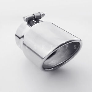 """3.3"""" (84MM) Inlet Bolt On Exhaust Tip 4"""" Rolled Outlet Slant Cut 7"""" Long SS304"""