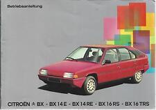Citroen BX BX 14e BX 14re BX 16 RS BX 16 trs Manual de instrucciones de 1983 manual ba