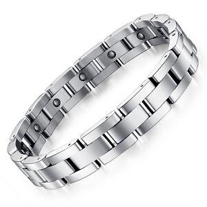 Schmuck Edelstahl Silber Magnetarmband Herren Magnet Hämatit Armband - S8012