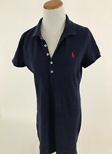 POLO RALPH LAUREN navy blue cotton knit polo shirt dress Women's L