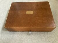 Antique Oak Cutlery Box With A Brass Oval Inlay to top