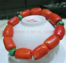 Natural Red Coral Cylindrical Turquoise Spacers Bracelets 7.5 Inch Hot