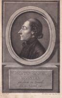 Portrait XVIIIe Johann Kaspar Lavater Ecrivain PhilosopheThéologien Criminologue