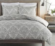 Pottery Barn JACQUARD MEDALLION Gray Textured Linen Blend QUEEN Duvet & Shams
